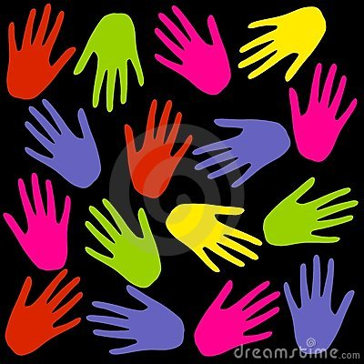 Colourful Hand Prints Background on Black