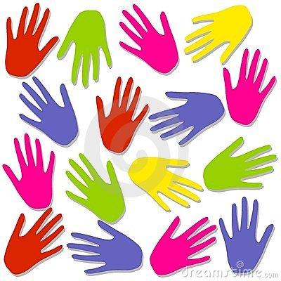 Colourful Hand Prints Background Pattern