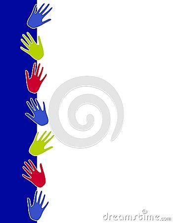 Colourful Hand Prints Border