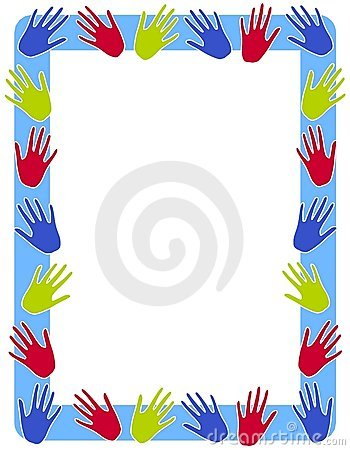 Colourful Hand Prints Frame Border
