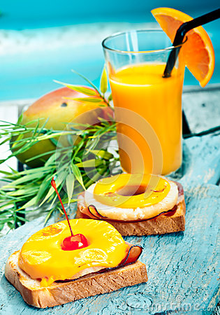 Colourful healthy tropical lunch