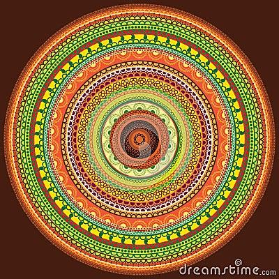 Colourful henna mandala