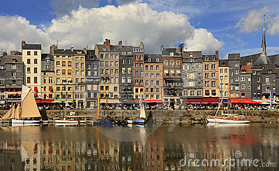 The colourful Honfleur harbour Editorial Stock Image