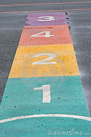 A colourful hopscotch game