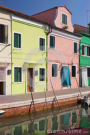 Colourful houses in Burano Island, Venice.