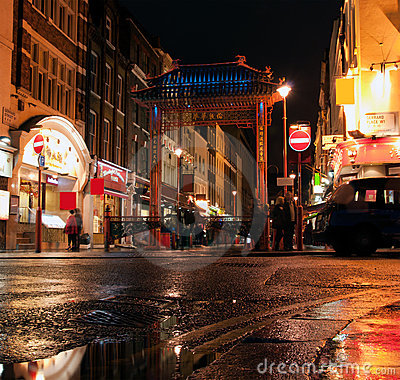 Colourful lights of China town, London