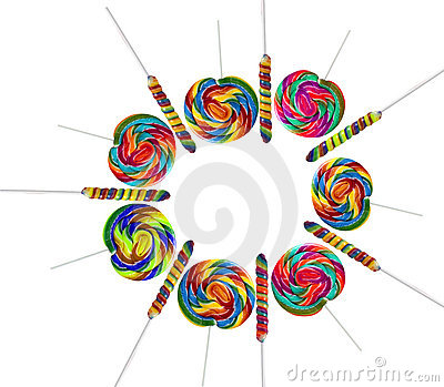 Colourful lollipops isolated on the white backgrou