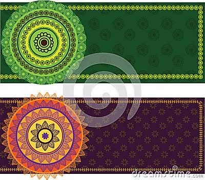 Colourful Mandala Banner with Border