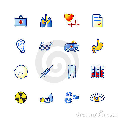 Colourful medicine icons
