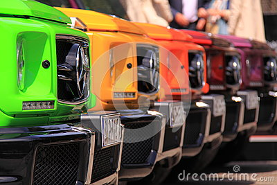 Colourful mercedes benz cars