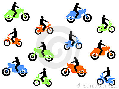 Colourful motorbikes