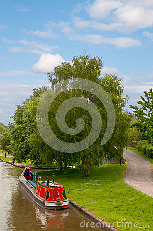Colourful Narrowboat on the Canal