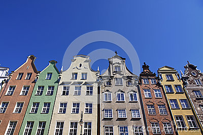 Colourful old buildings in City of Gdansk