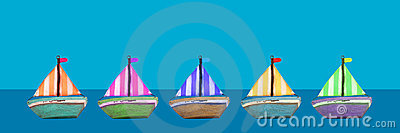 Colourful old wooden toy boats banner