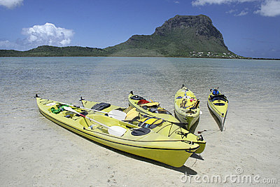 Colourful paddle boats in clear shallow water