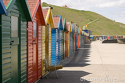 Colourful painted beach huts at Whitby