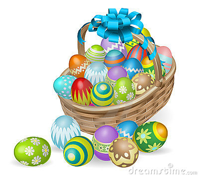Free Colourful Painted Easter Eggs Basket Royalty Free Stock Image - 22425096