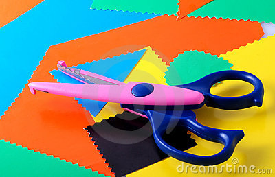 Colourful paper and scissors