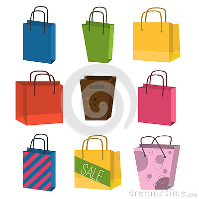Free Colourful Paper Shopping Bags Isolated On White Vector Set. Royalty Free Stock Image - 73454646