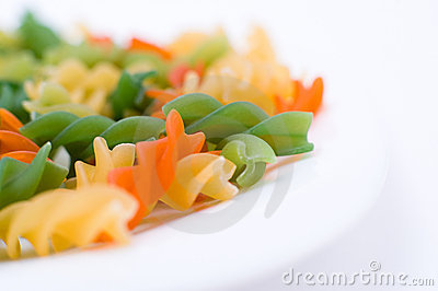 Colourful pasta, macro