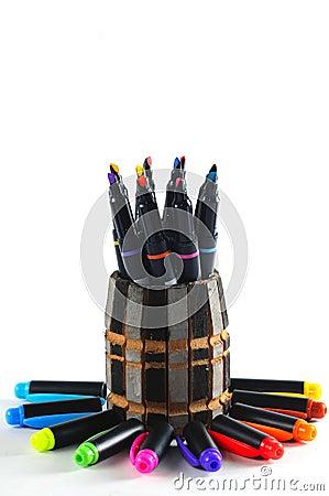 Colourful pen and pen caps