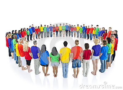 Colourful people in a circle