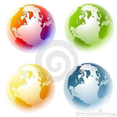 Colourful Planet Earth Globes