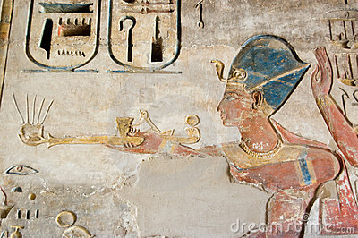 Colourful Ramses II Carving