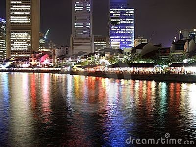 Colourful reflection at Singapore River