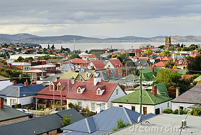 Colourful rooftops at Hobart, Tasmania, Australia