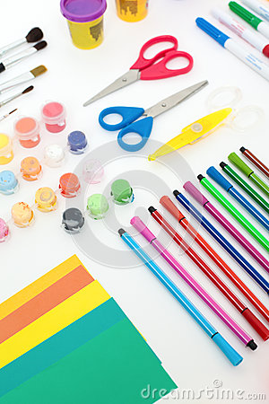 Colourful set of artistic tools