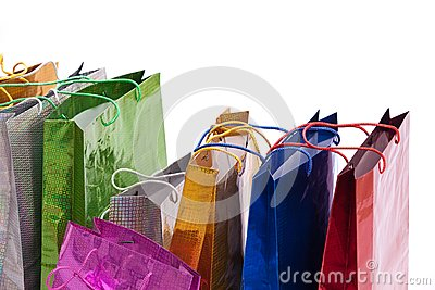 Colourful shop bags.