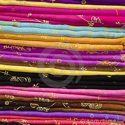 Colourful Silk Cloth Stack