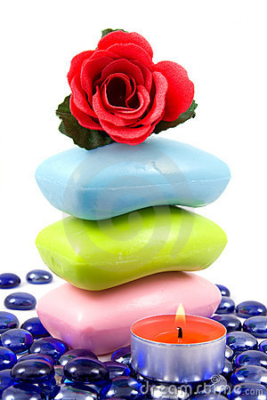 Colourful soap and aroma rose