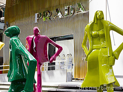 Colourful statues and Prada Store Editorial Photo