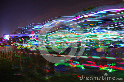 Colourful streams of light on Glow Run Port Elizabeth Editorial Stock Photo