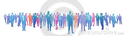 Colourful success business people silhouette, group of diversity businessman and businesswoman successful team concept Vector Illustration