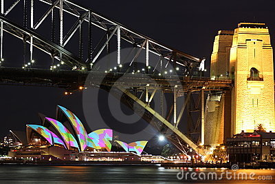 Sydney Opera House and Harbour Bridge towers Editorial Photography