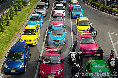 Colourful Taxis, Bangkok Editorial Photo