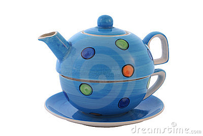 Colourful tea set. With clipping path.