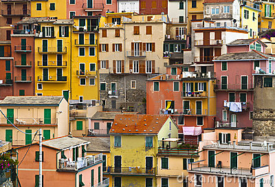 Colourful texture of  Manarola village.