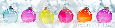 Colourful translucent Christmas baubles