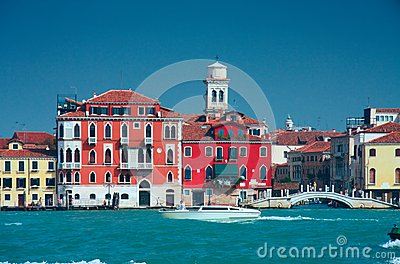 Colourful Venice embankment sea view