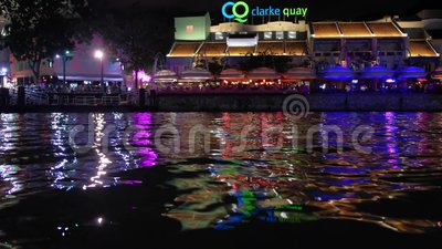 Colourful waterfront Riverside area of Clarke Quay^ Singapore. stock video