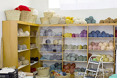 Colourful wool and yarn
