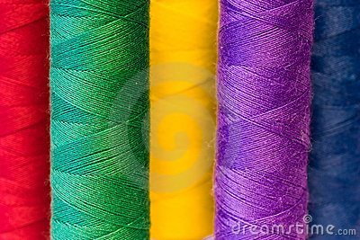 Colourful yarn spools
