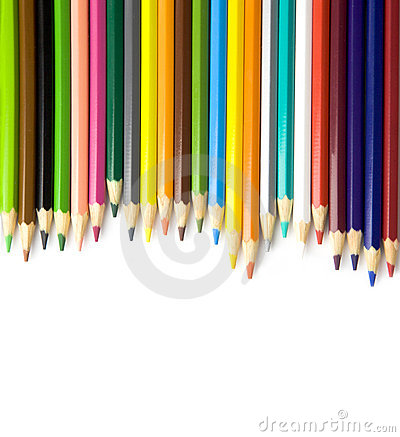 Colouring pencils on white background