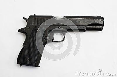 Colt 45 gun isolated on white