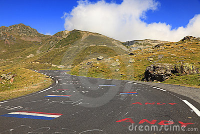 Col对tourmalet的du road 图库摄影片