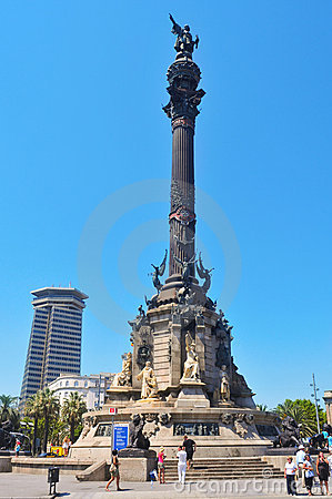 Columbus Monument in Barcelona, Spain Editorial Stock Image